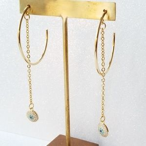 Evil eye gold chain hoop earring